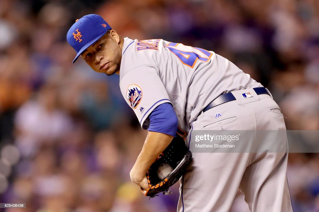 Pitcher Hansel Robles #47 of the New York Mets throws in the ninth inning against the Colorado Rockies at Coors Field on August 1, 2017 in Denver, Colorado.