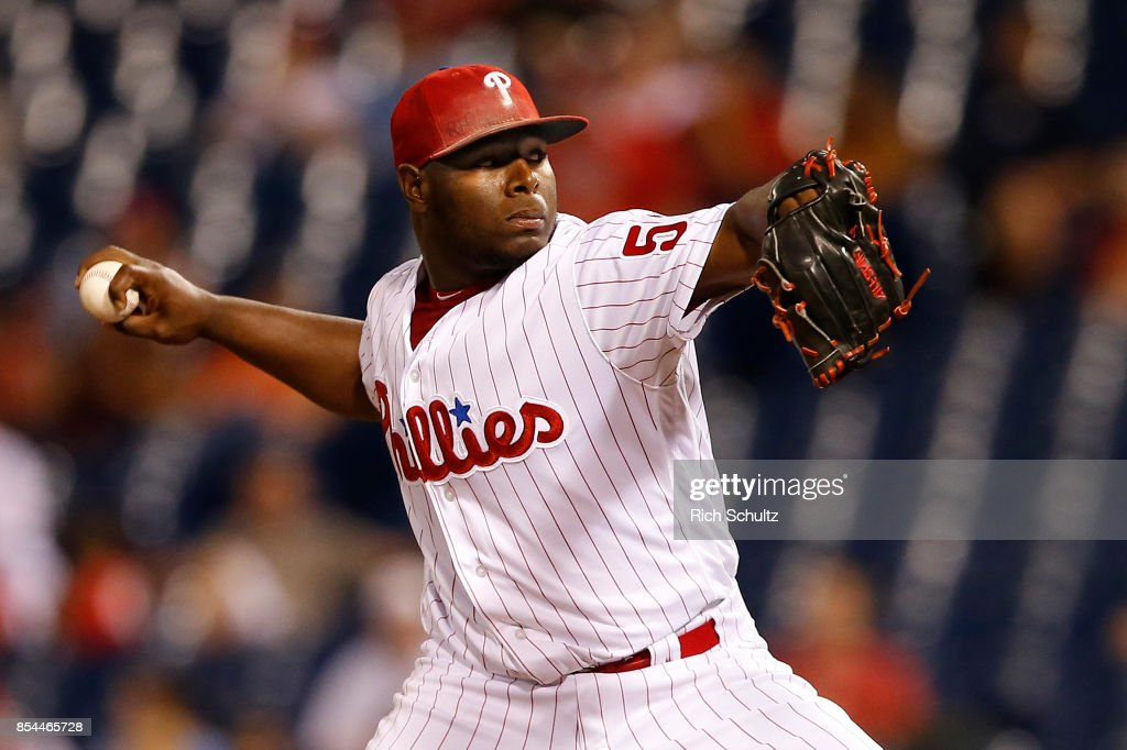 Pitcher Hector Neris #50 of the Philadelphia Phillies delivers a pitch against the Washington Nationals during the ninth inning of a game at Citizens Bank Park on September 26, 2017 in Philadelphia, Pennsylvania.