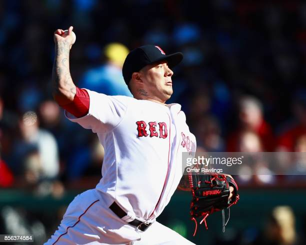 Pitcher Hector Velazquez of the Boston Red Sox pitches at the top of the second inning during the game against the Houston Astros at Fenway Park on...