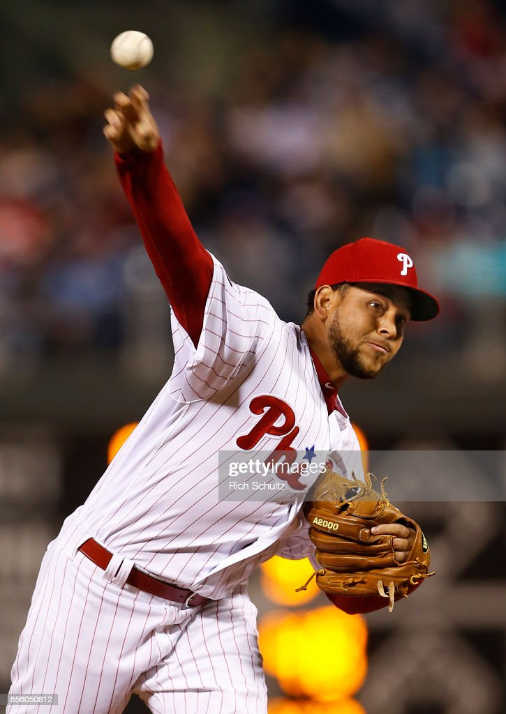 Pitcher Henderson Alvarez #58 of the Philadelphia Phillies delivers a pitch against the New York Mets during the first inning of a game at Citizens Bank Park on September 30, 2017 in Philadelphia, Pennsylvania.