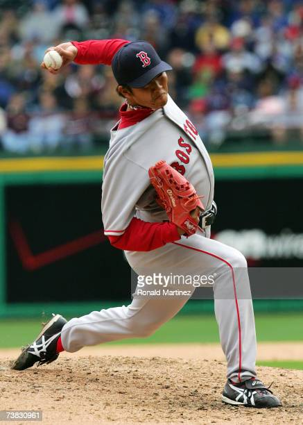 Pitcher Hideki Okajima of the Boston Red Sox throws against the Texas Rangers on April 6 2007 at Rangers Ballpark in Arlington Texas