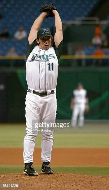 Pitcher Hideo Nomo of the Tampa Bay Devil Rays pitches against the Milwaukee Brewers on June 15 2005 at Tropicana Field in Tampa Florida The Devil...