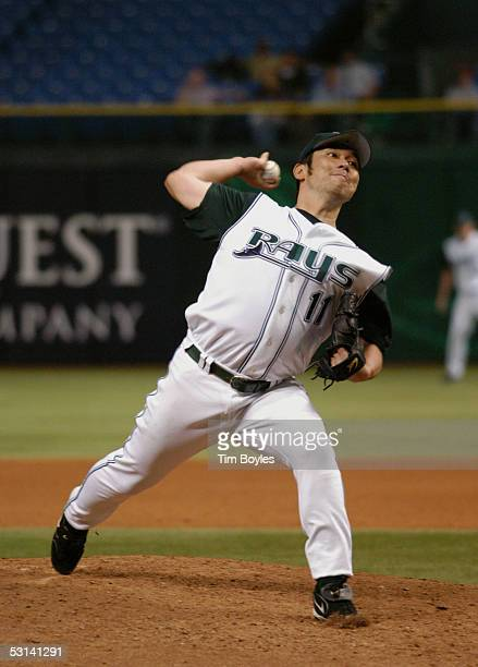 Pitcher Hideo Nomo of the Tampa Bay Devil Rays pitches against the Milwaukee Brewers on June 15 2005 at Tropicana Field in Tampa Florida TThe Devil...