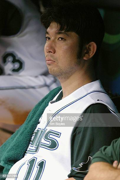 Pitcher Hideo Nomo of the Tampa Bay Devil Rays watches the game against the Milwaukee Brewers on June 15 2005 at Tropicana Field in Tampa Florida The...