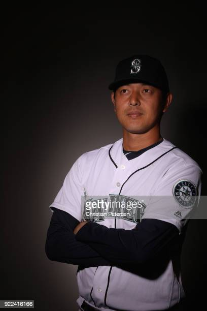 Pitcher Hisashi Iwakuma of the Seattle Mariners poses for a portrait during photo day at Peoria Stadium on February 21 2018 in Peoria Arizona
