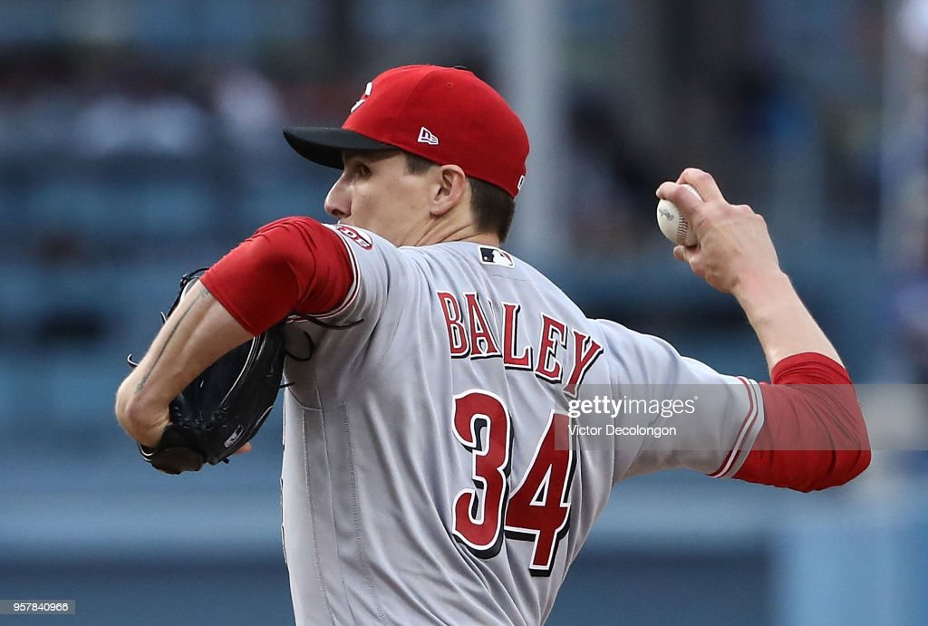PItcher Homer Bailey #34 of the Cincinnati Reds pitches in the second inning during the MLB game against the Los Angeles Dodgers at Dodger Stadium on May 12, 2018 in Los Angeles, California.