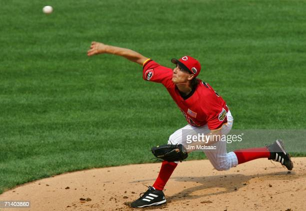 Pitcher Homer Bailey of the U.S.A. Team pitches against the World Team during the XM Satellite Radio All-Star Futures Game at PNC Park on July 9,...