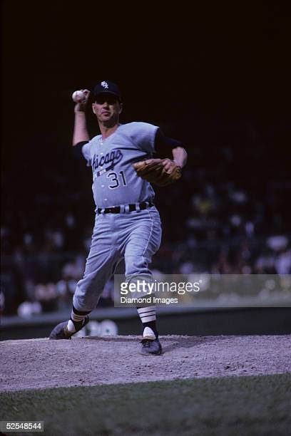 Pitcher Hoyt Wilhelm of the Chicago White Sox delivers a knuckleball to the plate during a 1967 season game against the Detroit Tigers at Tiger...