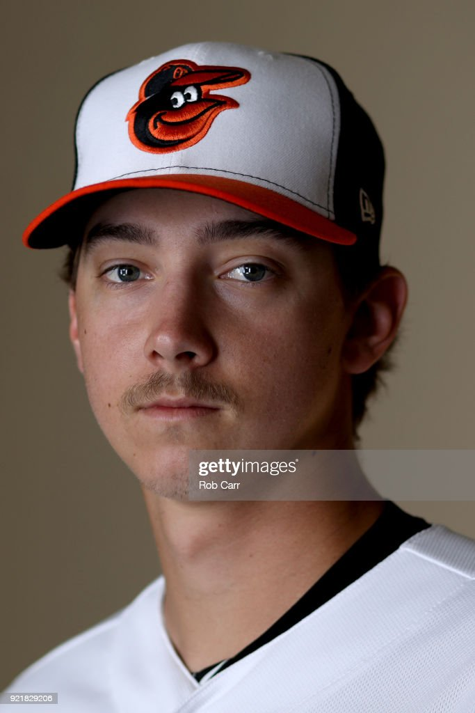 Pitcher Hunter Harvey #39 of the Baltimore Orioles poses for a photo during photo days at Ed Smith Stadium on February 20, 2018 in Sarasota, FL.