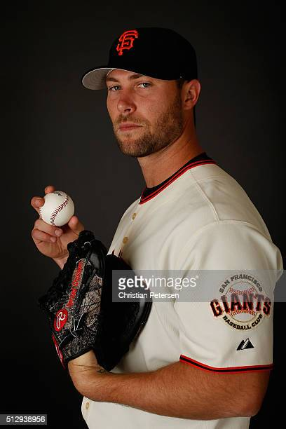 Pitcher Hunter Strickland of the San Francisco Giants poses for a portrait during spring training photo day at Scottsdale Stadium on February 28 2016...
