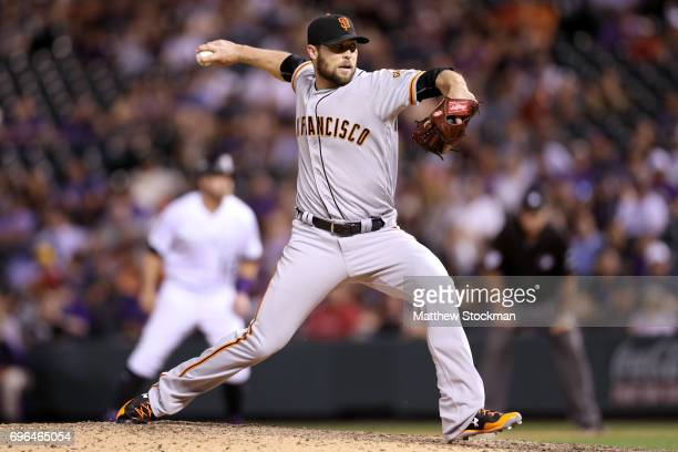 Pitcher Hunter Strickland of the San Francisco Giants throws in the ninth inning against the Coloarado Rockies at Coors Field on June 15 2017 in...