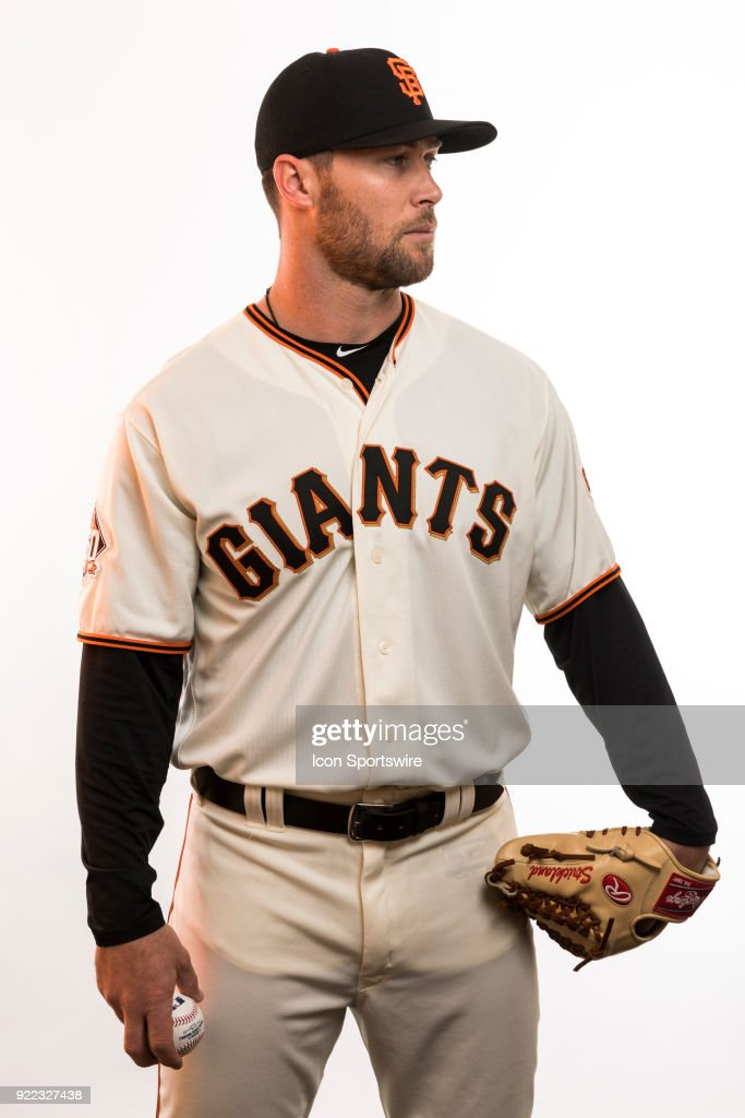 Pitcher Hunter Strickland (60) poses for a photo during the San Francisco Giants photo day on Tuesday, Feb. 20, 2018 at Scottsdale Stadium in Scottsdale, Ariz.