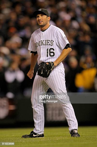 Pitcher Huston Street of the Colorado Rockies reacts as he blows the save against the Philadelphia Phillies in the ninth inning in Game Four of the...