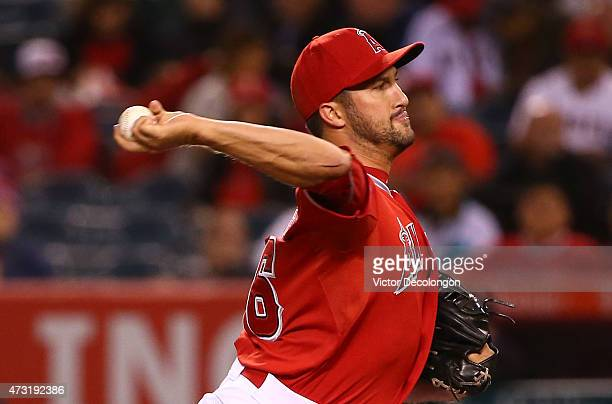 Pitcher Huston Street of the Los Angeles Angels of Anaheim pitches in the ninth inning during the MLB game against the Colorado Rockies at Angel...