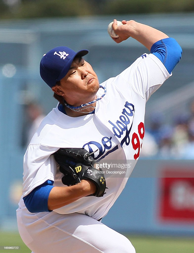 Pitcher Hyun-Jin Ryu #99 of the Los Angeles Dodgers pitches in the second inning against the Pittsburgh Pirates during the MLB game at Dodger Stadium on April 7, 2013 in Los Angeles, California.