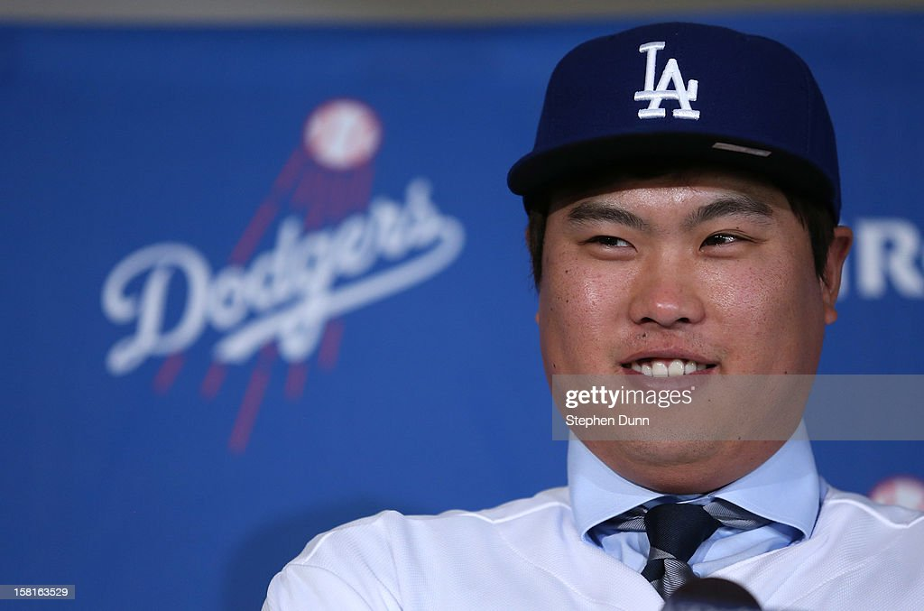 Pitcher Hyun-Jin Ryu speaks at a press conference introducing him following his signing with the Los Angeles Dodgers at Dodger Stadium on December 10, 2012 in Los Angeles, California.