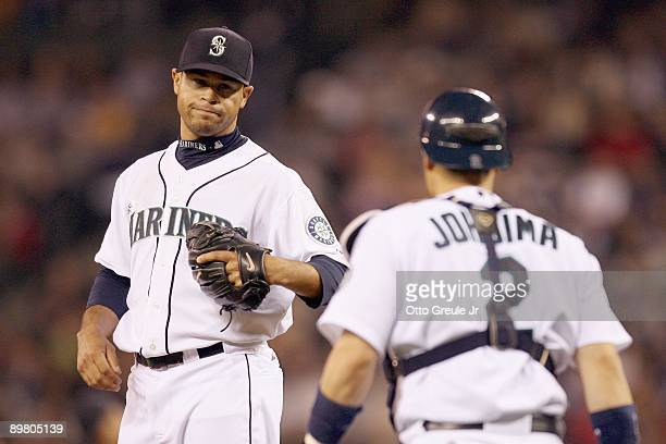 Pitcher Ian Snell of the Seattle Mariners looks to catcher Kenji Johjima during the game against the New York Yankees on August 13 2009 at Safeco...