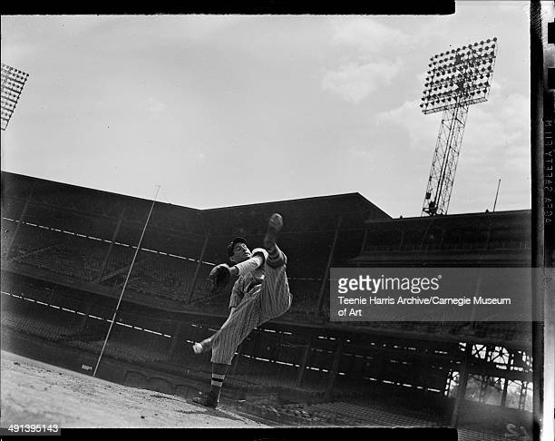 Pitcher in wind up on mound at Forbes Field, Pittsburgh, Pennsylvania, circa 1941-1945.