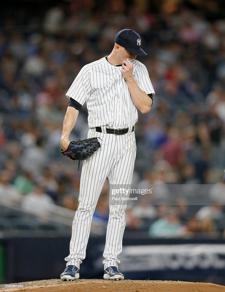 Pitcher J.A. Happ #34 of the New York Yankees in action during an MLB baseball game against the Detroit Tigers on August 30, 2018 at Yankee Stadium in the Bronx borough of New York City. Detroit won 8-7.