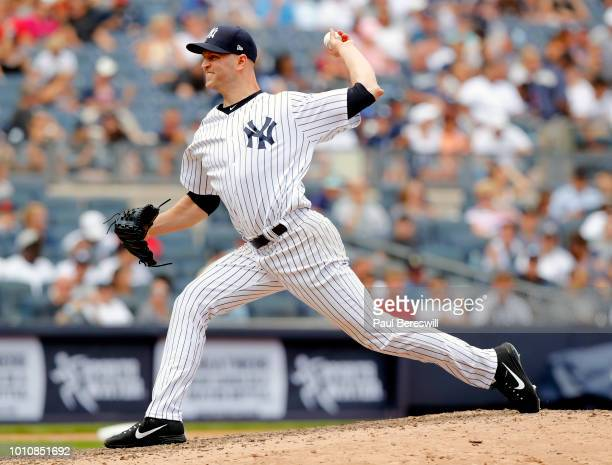 Pitcher JA Happ of the New York Yankees pitches his first game as a Yankee since recently being acquired in a trade with the Toronto Blue Jays during...