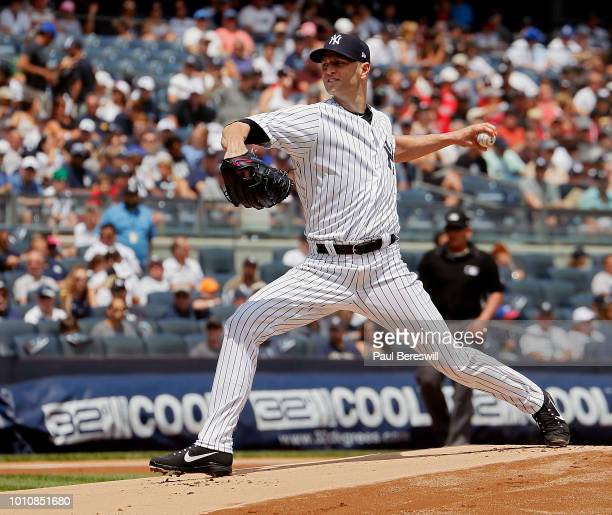 Pitcher JA Happ of the New York Yankees pitches in his first game as a Yankee since recently being acquired in a trade with the Toronto Blue Jays...