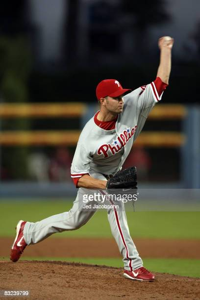 Pitcher J.A. Happ of the Philadelphia Phillies on the mound against the Los Angeles Dodgers in Game Three of the National League Championship Series...