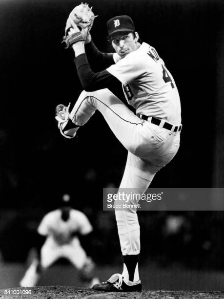 Pitcher Jack Morris of the Detroit Tigers throws a pitch during an MLB game circa 1980 at Tiger Stadium in Detroit Michigan