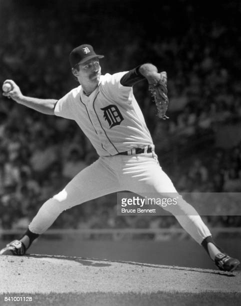 Pitcher Jack Morris of the Detroit Tigers throws a pitch during an MLB game circa 1985 at Tiger Stadium in Detroit Michigan