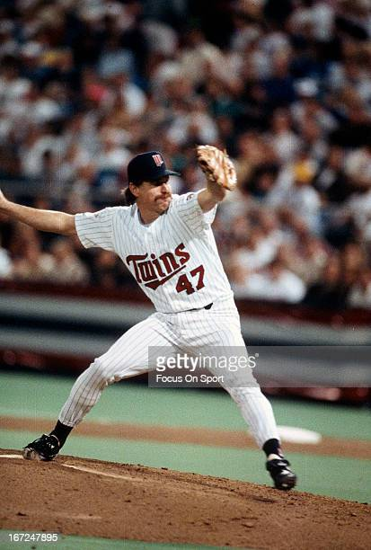 Pitcher Jack Morris of the Minnesota Twins pitches against the Atlanta Braves in game seven of the world series October 27 1991 at the Hubert H...
