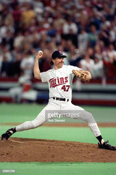 Pitcher Jack Morris of the Minnesota Twins pitches during the 1991 World Series game against the Atlanta Braves in October of 1991 at the Metrodome...