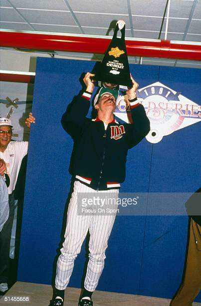 Pitcher Jack Morris of the Minnesota Twins poses with his MVP trophy after winning Game Seven of the World Series against the Atlanta Braves at the...