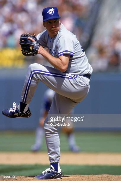 Pitcher Jack Morris of the Toronto Blue Jays on the mound during a game against the Oakland A's on July 26 1992 at Oakland Alameda County Stadium in...