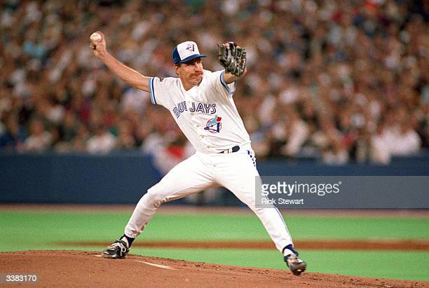 Pitcher Jack Morris of the Toronto Blue Jays on the mound during game 5 of the World Series against the Atlanta Braves on October 22 1992 at the...