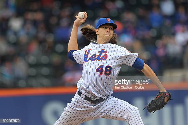 Pitcher Jacob deGrom New York Mets pitching during the New York Mets Vs Philadelphia Phillies Mets home opener at Citi Field on April 8 2016 in New...