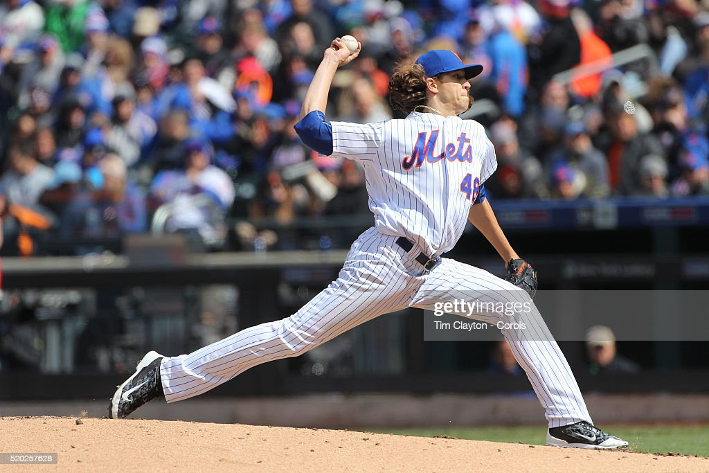 Pitcher Jacob deGrom, New York Mets, pitching during the New York Mets Vs Philadelphia Phillies, Mets home opener at Citi Field on April 8, 2016 in New York City.