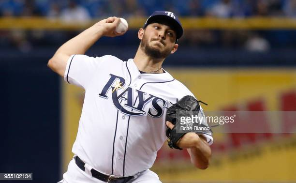 Pitcher Jacob Faria of the Tampa Bay Rays pitches during the first inning of a game against the Toronto Blue Jays on May 5 2018 at Tropicana Field in...