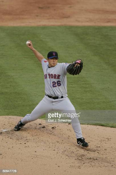Pitcher Jae Weong Seo of the New York Mets delivers against the Florida Marlins at Pro Player Stadium on May 29, 2004 in Miami Florida. The Marlins...