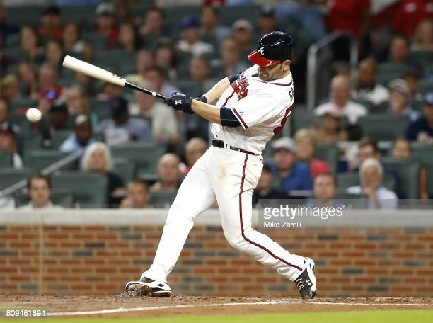 Pitcher Jaime Garcia of the Atlanta Braves hits a 2run RBI single in the fifth inning during the game against the Houston Astros at SunTrust Park on...