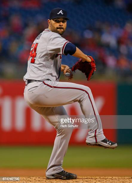 Pitcher Jaime Garcia of the Atlanta Braves in action against the Philadelphia Phillies during a game at Citizens Bank Park on April 22 2017 in...
