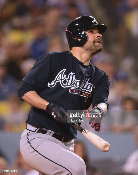 Pitcher Jaime Garcia of the Atlanta Braves watches his grand slam homerun to take a 90 lead over the Los Angeles Dodgers during the fifth inning at...