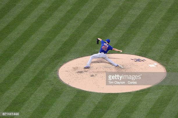 Pitcher Jake Arrieta of the Chicago Cubs pitching during the Chicago Cubs Vs New York Mets regular season MLB game at Citi Field on July 02 2016 in...