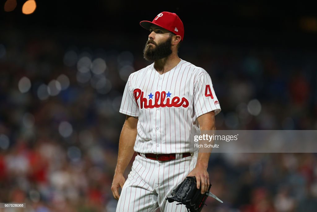 Pitcher Jake Arrieta #49 of the Philadelphia Phillies walks off the field in the seventh inning after getting relieved against the New York Mets during a game at Citizens Bank Park on May 11, 2018 in Philadelphia, Pennsylvania. The Mets defeated the Phillies 3-1.