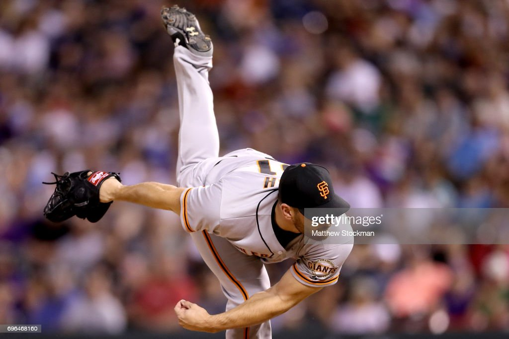 Pitcher Jake Osich #61 of the San Francisco Giants throws in the seventh inning against the Coloarado Rockies at Coors Field on June 15, 2017 in Denver, Colorado.