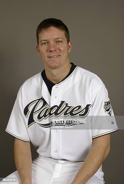 Pitcher Jake Peavy of the San Diego Padres poses for a picture during media day at Peoria Sports Complex on February 28 2004 in Peoria Arizona