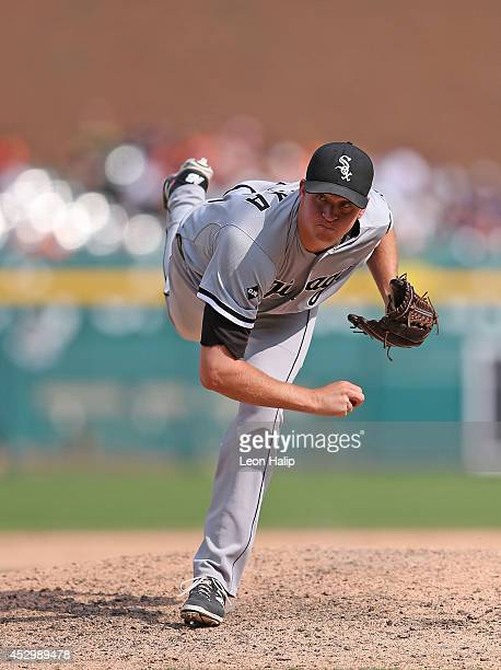 Pitcher Jake Petricka of the Chicago White Sox pitches in the ninth inning of the game against the Detroit Tigers at Comerica Park on July 31 2014 in...