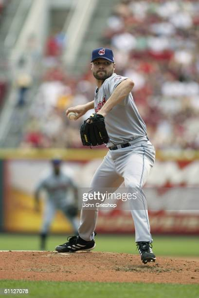 Pitcher Jake Westbrook of the Cleveland Indians delivers the ball during MLB game against the Cincinnati Reds at Great American Ball Park on July 4...