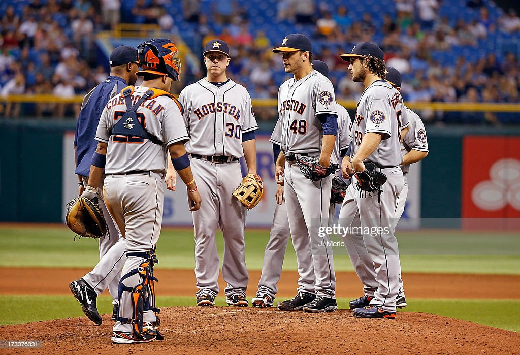 Pitcher Jarred Cosart #48 of the Houston Astros is taken out of the game in the ninth inning against the Tampa Bay Rays during the game at Tropicana Field on July 12, 2013 in St. Petersburg, Florida.
