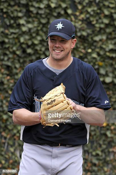 Pitcher Jarrod Washburn of the Seattle Mariners conducts a bullpen session prior to a game on April 6 2008 against the Baltimore Orioles at Camden...