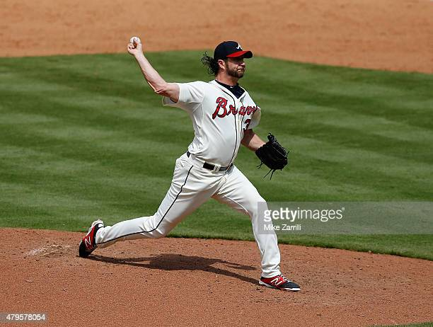 Pitcher Jason Grilli of the Atlanta Braves throws a pitch in the eighth inning during the game against the Philadelphia Phillies at Turner Field on...