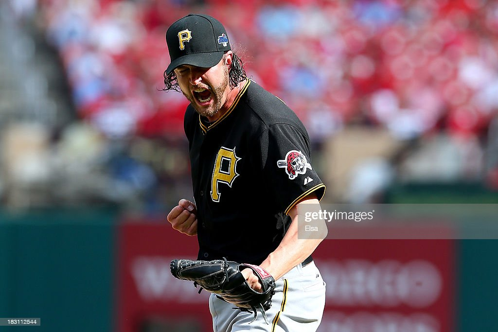 Pitcher Jason Grilli #39 of the Pittsburgh Pirates celebrates the Pirates 7-1 victory against the St. Louis Cardinals during Game Two of the National League Division Series at Busch Stadium on October 4, 2013 in St Louis, Missouri.
